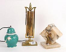 Three Porcelain, Alabaster and Brass Table Lamps