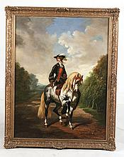 Oil on Canvas, Queen Elizabeth on Horseback
