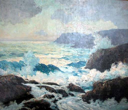 AN OIL ON CANVAS;Depicting breaking waves on a rocky coast,