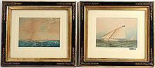 Watercolor, Marine Scene, J.E. Buttersworth
