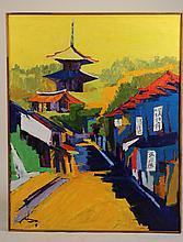 Oil on Canvas, Pagodas, Rene Brochard