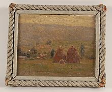 Oil on Canvas, Haystacks, Edward H. Barnard