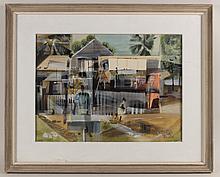 Gouache, Streetscape, Jane Oliver