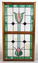 Floral-Decorated Stained Glass Window