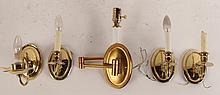 Five Brass Single Light Wall Sconces