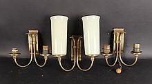 Three Art Nouveau Brass Two Arm Wall Sconces