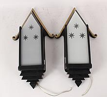 Pair of Art Deco Painted Wood& Glass Wall Sconces