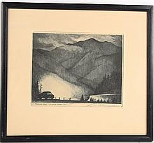 Engraving, Mountainscape, Leon Pescheret
