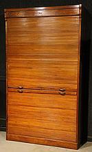 Oak Tambour Front Bookcase Cabinet