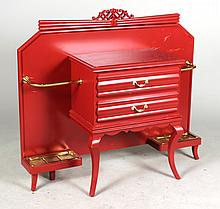 Art Deco Brass-Mounted Red-Lacquer Hall Tree