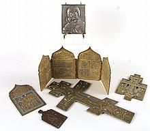 Five Enamel-Decorated Brass Icons