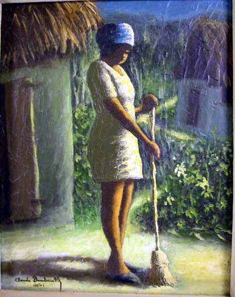 A HAITIAN OIL ON CANVAS, scene with woman holding broom, with