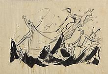 Norah McGuinness HRHA (1901-1980) Sketch for Theatre Programme, The Death of Cuchulain and The Dandy Dolls at the Abbey Theatre