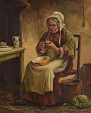 Alexander Austen (fl.1891-1909) British Peeling the Potatoes