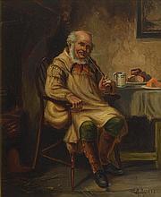 Alexander Austen (fl.1891-1909) British Smoking a Pipe