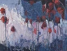 Lisa Ballard (20th/21st Century) Red Flowers on Lake