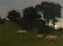 Joseph Malachy Kavanagh RHA (1856-1918) Whispering Leaves and Wandering Sheep