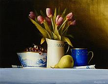 David Ffrench Le Roy (b.1971) Jug of Tulips and Pear