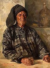 Max Leon Moreau (1902-1992) Belgian Pecheur avec une Boisson