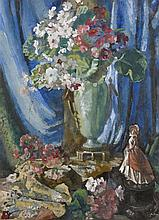 Kathleen Fox (1880-1963) Still Life - Vase of Flowers and Figurine