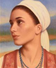 James Cahill (20th/21st Century) Girl With White Head Scarf