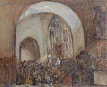 circle of Walter Frederick Osborne RHA (1859-1903) Church Interior