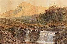 Albert Hartland (1840-1893) Waterfall and Mountainscape