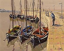 Ivan Sutton (b.1944) Galway Hookers Berthed at Carraroe, Co. Galway