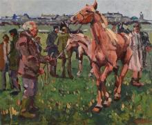Sean Tiernan (20th/21st Century) Ballinasloe Horse Fair