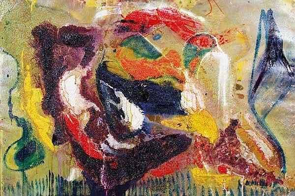 Matt Lamb (b.1932) Abstract oil on canvas signed