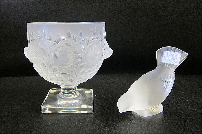 "TWO LALIQUE ART GLASS PIECES: ""Elizabeth"" pedestal"
