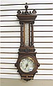 AN OAK-CASED WALL BAROMETER/THERMOMETER, English,