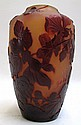 GALLE AMBER CAMEO GLASS VASE having acid etched