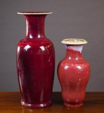 TWO CHINESE FLAMBE GLAZE PORCELAIN VASES, the tall