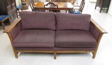 A CONTEMPORARY STICKLEY SOFA, purple upholstery on