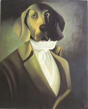 LARGE DOG PORTRAIT OIL ON CANVAS, a regal hound dr
