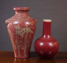 TWO CHINESE PORCELAIN VASES, the first Qing style