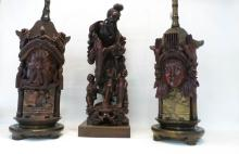 THREE WOOD CARVINGS:  figure of a Chinese fisherma
