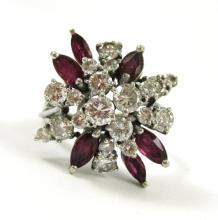 DIAMOND, RUBY AND FOURTEEN KARAT WHITE GOLD RING,