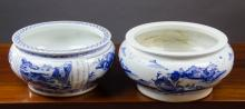 TWO CHINESE BLUE AND WHITE PORCELAIN CENSERS, one