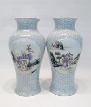 PAIR CHINESE PORCELAIN VASES, baluster form, each