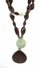 DOUBLE STRAND RED JASPER AND JADE NECKLACE, strung