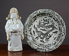 CHINESE PORCELAIN CHARGER AND FIGURE, the blue and