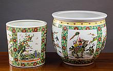 TWO CHINESE PORCELAIN VESSELS, the planter with en