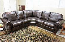 CONTEMPORARY LEATHER SECTIONAL SOFA SET, unknown m