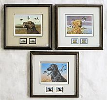 THREE OREGON WATERFOWL STAMP PRINTS WITH STAMPS: