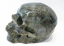 CARVED GREEN LABRODITE SKULL from Madagascar.  Hei