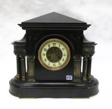 BLACK MARBLE MANTEL CLOCK, French, 19th century, s