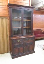 A VICTORIAN CABINET BOOKCASE ON CUPBOARD, English,