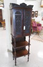 VICTORIAN CARVED MAHOGANY MUSIC CABINET ON STAND,